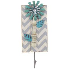 Turquoise, White & Gray Chevron Flower Wall Hook