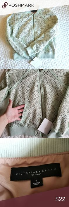Victoria Beckham Target lace jacket mint green S Brand new jacket from Victoria Beckham for Target. Lace bomber style jacket in a light mint green color. Super feminine and chic. Size is small.😍 Victoria Beckham for Target Jackets & Coats