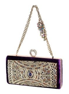 Scintillating Silver Intricately Adorned Clutch by Meera Mahadevia | Indian Designers | Indian Bags and Clutches