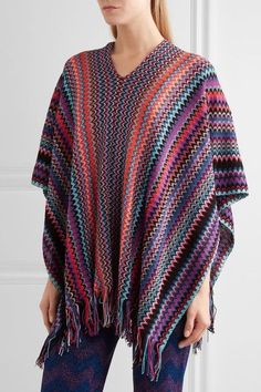 Missoni - Fringed Metallic Crochet-knit Poncho - Purple - one size