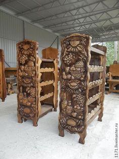 дубовая бутылочница - коричневый,резьба по дереву,мебель из дерева,мебель ручной работы