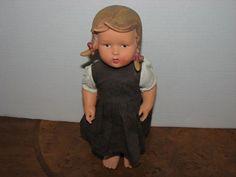 """VINTAGE HUMMEL 10 1/2"""" VINYL GIRL DOLL W. GOEBEL ORIGINAL DRESS"""