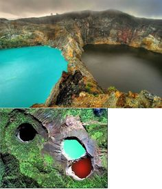 """The Lakes of Mount Kelimutu, Indonesia are considered to be the resting place for departed souls, the lakes are locally referred to as """"the lake of evil spirits"""". All 3 lakes change color from blue to green to black or red unpredictably."""