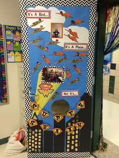 Superhero Door Decoration contest. Teacher Appreciation Week. Superman. Supergirl. (took pics of each student)  It won!  ;)