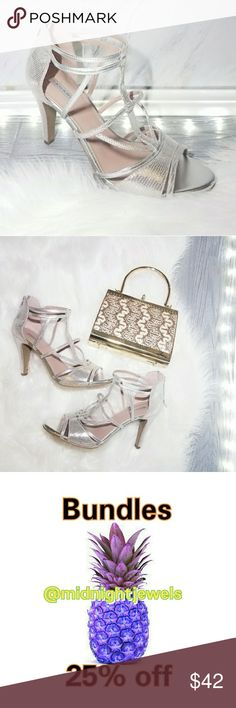 Tahari Silver Heels Sandles Shoes Strappy Size 9 Hotter than ever this season! A dose of chicness to your everyday wardrobe. Comfortable go with just about everything. Super easy to dress them up or down. Absolutely stunning   . Size 9  . Condition Excellent  . Color Silver   . Bundle & SAVE 25% off 🍍  . Reasonable offers welcome😃  No additional shipping charge when you purchase more from my closet   Every purchase will be packed with Care & a Special FREE GIFT 🎁   🍍 25% OFF on bundles…