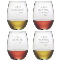 Wine drinkers will gain confidence while they drink from these assorted Trust Me stemless wine glasses.   #humor #kitchen #wine