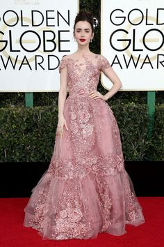 Lily Collins in Zuhair Murad Couture at 2017 Golden Globe Awards in Beverly Hills