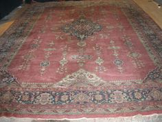 STUNNING HUGE HAND MADE PERSIAN CARPET / RUG -IN PINKS AND ICONIC PERSIAN DESIGN   eBay
