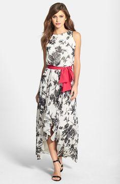 Eliza J Print High/Low Chiffon Maxi Dress available at #Nordstrom