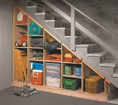 For inside the storage area of basement. Storage Ideas For Basement, Ideas For Unfinished Basement, Diy Storage Under Stairs, Unfinished Basements, Staircase Storage, Basement Storage Shelves, Unfinished Basement Laundry, Stair Shelves, Shelves Under Stairs