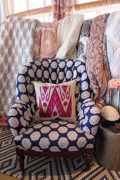 John Robshaw Studio, retail styling, boho fabrics, pattern mix