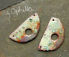 moon copper enamel with glass lampwork jewelry supplies charms 2pc 4ophelia
