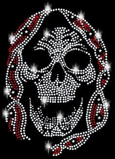 Strass Hot Fix Bügelbild Design Totenkopf Skull