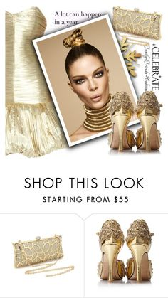 """""""GOLD FOR NYE"""" by samketina ❤ liked on Polyvore featuring Yves Saint Laurent and WALL"""
