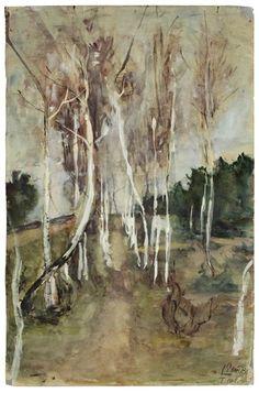 Paula Modersohn-Becker - BIRKENALLEE; Medium: Watercolour and opaque white on paper