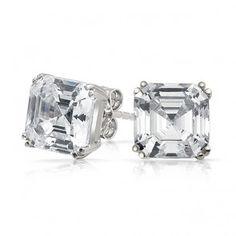Asscher Cut Diamond CZ Stud Earrings Silver