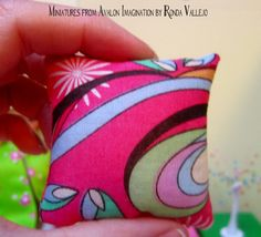 Barbie 1/6th scale Miniature dollhouse retro mod psychedelic colorful fuchsia sofa or bed pillows by MiniaturesfromAvalon on Etsy