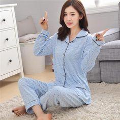 d4462a6e6 Korean cotton long sleeve women pyjamas 2 piece tops and pants spring  autumn women sleepwear set casual xxl women lingerie set