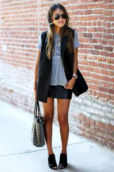 When in doubt, throw on a tuxedo vest, graphic tee and leather miniskirt // #fashion #style #outfits
