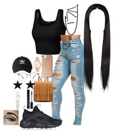 """""""outfit#66 or 67"""" by therealistkd on Polyvore featuring Karen Millen, adidas, NIKE, Michael Kors, Forever 21 and Lancôme"""