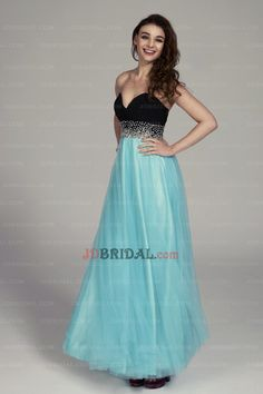 2015 Captivating A Line Sweetheart Beading Empire Waist Two Tone Prom Dress