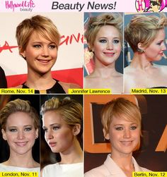 jennifer laurence short hairstyles | Jennifer Lawrence Rocks Her Pixie Cut At 'Catching Fire' European ...