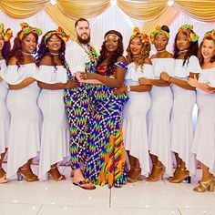 Couples African Outfits, African Attire, African Dress, Wedding Bridesmaid Dresses, Bridal Dresses, African Print Wedding Dress, Wedding Dance Video, Ghana Wedding, Kente Styles