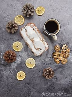 Delicious stollen cake on marble background
