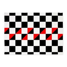 Black And White Checkers With Red T 5 X7 Area Rug