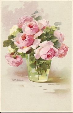pink roses in a glass vase << Signed artist: Catherine Klein >> Deco Floral, Arte Floral, Watercolor Flowers, Watercolor Art, Roses Pink, Rose In A Glass, Colorful Roses, Rose Art, Beautiful Paintings