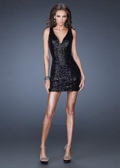 La Femme 19482 Black Sequin Sheer Back Sexy Cocktail Dress