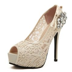 Sexy lace With Rhinestone Wedding Platform Shoes