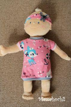 Mamahoch2: Puppenoberteile Shirt/Kleid - 43cm - freebook