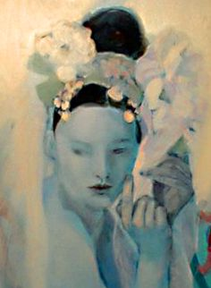 ⊰ Posing with Posies ⊱ paintings of women and flowers - Ledün Nâsir painting detail