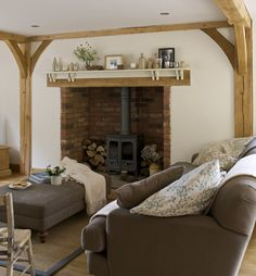 Border Oak - Inglenook fireplace with Clearview Woodburner. Wood Burner Fireplace, Inglenook Fireplace, Tall Fireplace, Fireplace Surrounds, Fireplace Design, My Living Room, Living Room Furniture, Home Furniture, Living Spaces