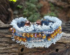 Upcycled Frayed Denim Bracelet with Czech Rhinestone Beads