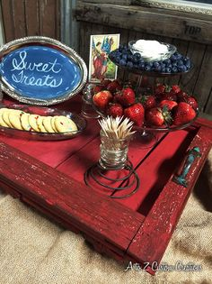 diy repurposed window panel turned serving tray...love the red...
