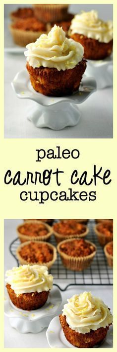 Paleo Carrot Cake Cupcakes with Lemon Coconut Butter frosting. Grain-free…
