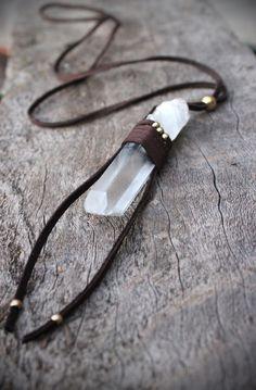 Unisex Large Rough Crystal Point Necklace, Unisex, Spiritual, Healing, Tribal, Bohemian, Nature Inspired. $45.00, via Etsy.