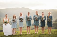 Blue ombre bridesmaid dresses | James Broadbent Photography