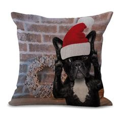Cushion Cover Digital Printed Linen Pillow Cover Decorative French Bull Themed Home Decoration Accessories Cute Dog Cushion Cover 45x45cm