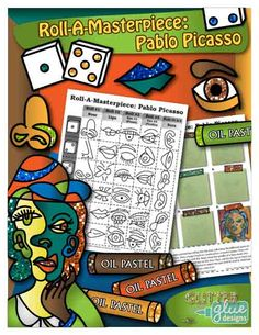 Roll-A-Masterpiece: Pablo Picasso Art History Game by Glitter Meets Glue Designs - Create a fun oil pastel portrait inspired by Pablo Picasso's abstract style. Students roll the die to collect that parts of the face for the overall design. Step-by-step pictorial directions are given. Perfect for sub plans or a one class project! #art LINK TO THE GAME: https://www.teacherspayteachers.com/Product/Roll-A-Masterpiece-Pablo-Picasso-Art-History-Game-1527368