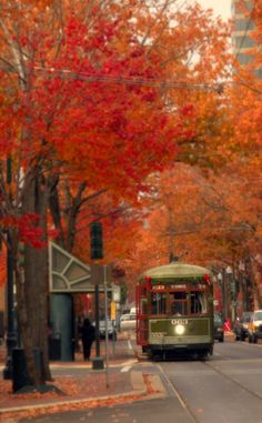 streetcar in New Orleans in the fall