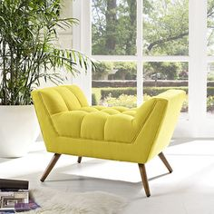 Modway Response Fabric Ottoman in Sunny