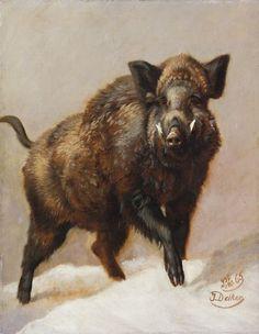 Johannes Christian Deiker (1822-1895) - A Wild Boar. 1865.