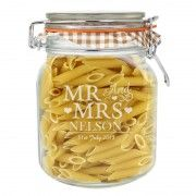 Are you interested in our Mr & Mrs Glass Clip Top Jar? With our Sweet glass jar you need look no further. Engraved Wedding Gifts, Wedding Day Gifts, Engraved Gifts, Wedding Ideas, Personalised Love Hearts, Personalized Gifts, Kilner Jars, Mason Jars, Kitchen Jars
