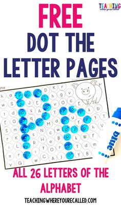 Help yours students learn their letters with these FREE dot the letter pages. Students will dot the capital and lowercase letters to reveal the uppercase and lowercase versions of the letter. This fun printable is a perfect activity for toddlers, preschool, and kindergarten! #dottheletter #freeresource #alphabet #letters #letteroftheweek