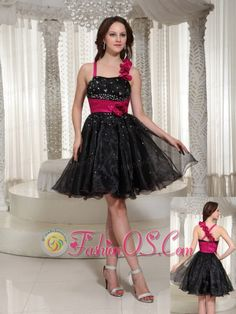 Beaded Organza A-line Floral Prom / Cocktail Dress With Hand Made Flowers    http://www.fashionos.com  Take a walk on the wild side in this fabulous black short dress. The fitted bodice features a sweetheart neckline with two straps, one of which is embellished with hand made flowers. The asymmetrical ruching with shimmering beads accentuates your curve perfectly.