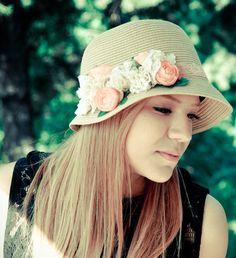 Womens sun hat summer  straw hat with peachy by dantiehandmade