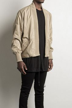 """sand kimono bomber jacket waterproof polyester microfiber lining: pure silk this item is made to order and takes 7 days (model is wearing a size large and is 6'1"""" and 170 lbs) this daniel patrick piec"""